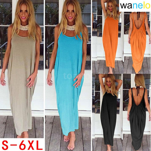 Boho Women Dress Plunge Backless Round Neck Sleeveless Long Maxi Gown Casual Beach Holiday Sundress - The Rogue's Clothes