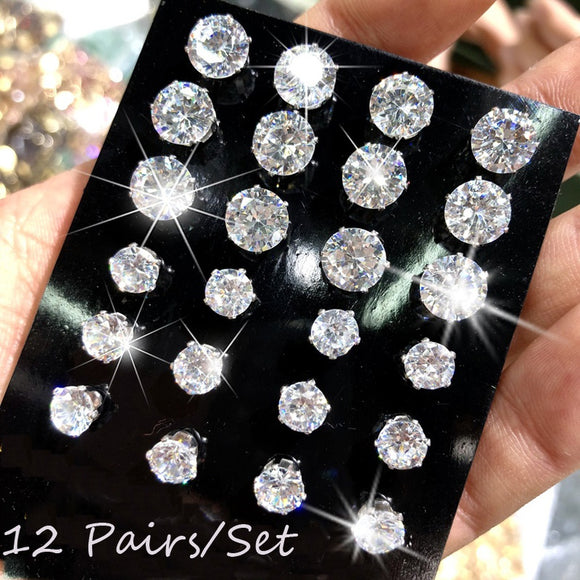 12 Pair/lot White 8 Colors Cubic Zirconia Earrings Men Women Stainless Steel Round Zircon Stud Earrings Simple Women Wedding Jew - The Rogue's Clothes