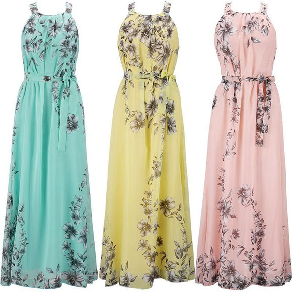 Plus Size 2017 Women Bohemian  Sleeveless Chiffon Floral Print Halter Maxi Skirt Beach Dress Long Skirt