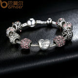 925 Silver Charm Bangle & Bracelet with Love and Flower Crystal Ball for Women Wedding PA14555LE - The Rogue's Clothes