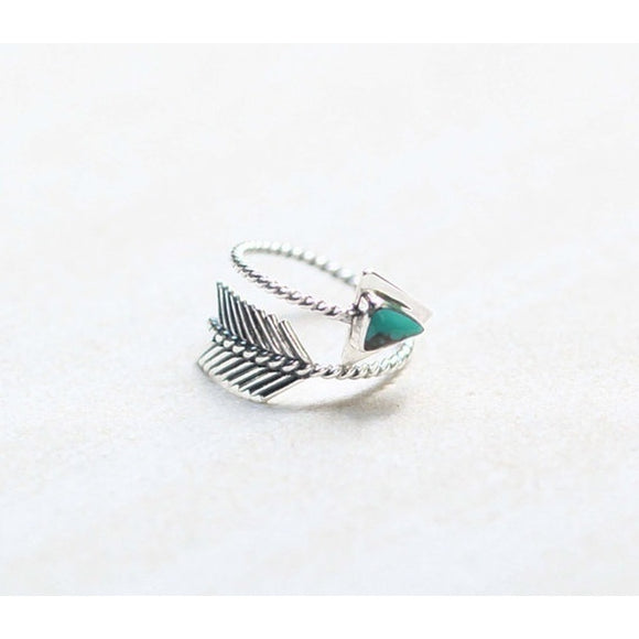 Vintage Style Boho Jewelry Silver Gemstone Turquoise Adjustable Gypsy Arrow Ring Wedding Engagement Rings