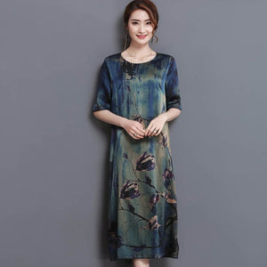 2017 New Summer Middle Age High Quality Silk Print Long Dress Vintage Elegant Large Size Loose O-Neck Women Dress - The Rogue's Clothes
