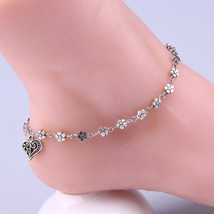 Women Silver Bead Chain Anklet Ankle Bracelet Barefoot Sandal Beach Foot Jewelry