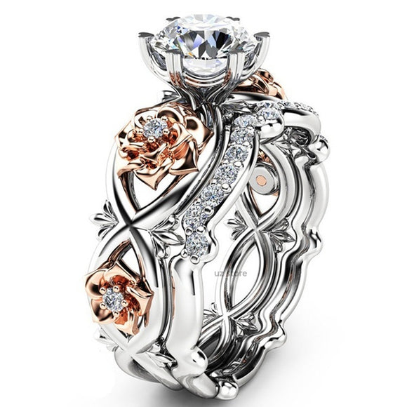 New Women Fashion Two Tone Silver & Rose Gold Filed White Sapphire Wedding Engagement Floral Ring Set