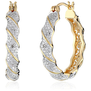 Charming Jewelry Lady Real 18 K Gold Plated&topaz Twisted Hoop Earrings - The Rogue's Clothes