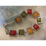 Vintage Style Square Amber 925 Silver Overlay Bead Bracelet Creative Party Jewelry Gifts