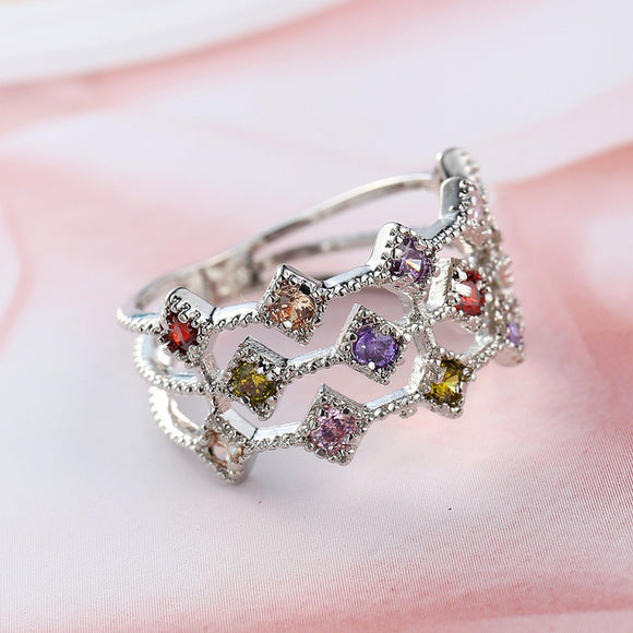 Noble Pink Synthetic sapphire & amethyst & white Topaz Gemstones Silver Ring
