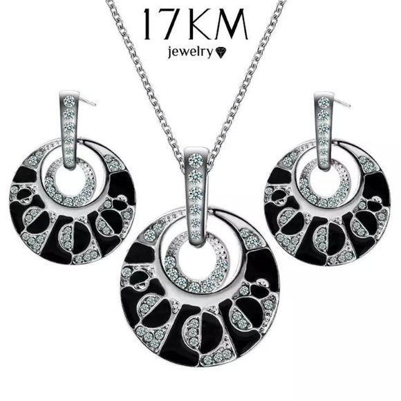 Sexy Luxury Silver Crystal Rhinestone Round Personality Pendant Necklace Dangle Earrings Set Elegant Wedding Jewelry Girl Party