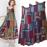 Fashion Women Sleeveless O-neck Vest Dress Irregular Print Sundress Casual Loose Dress