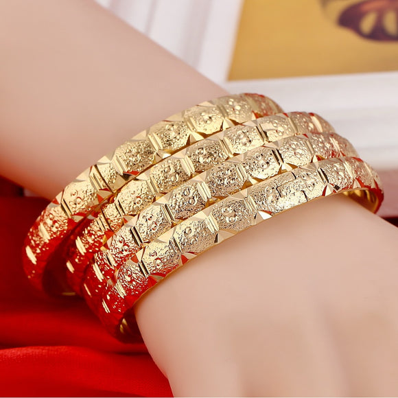 8MM Total 4pcs 2017 New Arrival 18K Real Gold Bangle Jewelry Duabi Ethiopian Gold Bangles&Bracelets Jewelry Women Gift - The Rogue's Clothes