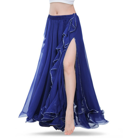 2016 New Women Indian Belly Dance Costume 2 Layers Slit Skirt Dresses 12 Colors - The Rogue's Clothes