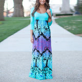 S M L XL Summer New Womens 3/4 Sleeve Floral Print Evening Party Dresses Cocktail Casual Long Maxi Dress