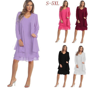 Two Piece Set 5XL Plus Size Clothing Women Sexy Long Sleeve Loose Casual Party Chiffon Midi Dress Trending Products 2018