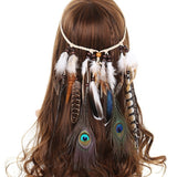 Fashion new hot Bohemia Style Weave Rope Feather Headband Gypsy Tassels Bead Pendant Hairband Hair Accessories