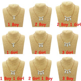 Cute Boy Girl Pendant Necklace Son Daughter Good Sister Brother Jewelry
