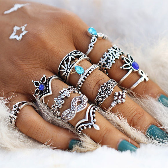 13 PCS/Set Retro Flower Infinite Knuckle Rings For Women Vintage Geometric Pattern Crystal Rings Set Party Bohemian Jewelry Gift - The Rogue's Clothes