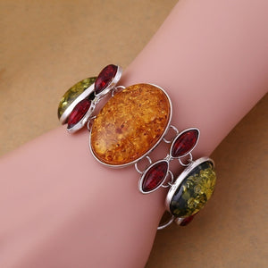 Silver Plated Charm Faux Amber Beads Statement Chain Charm Link Bangle Bracelet (Color: Amber)