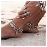 Vintage Style Multilayers Beaded Anklets for Women Bohemian Beach Feather Leaf Fish Beaded Foot Jewelry Gypsy Ankle Bracelet