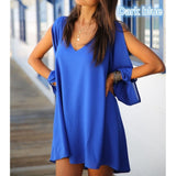 4 Color Fashion V Collar Chiffon Long Sleeved Loose A Word Dress Plus Size - The Rogue's Clothes
