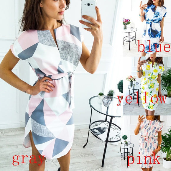 Geometry Floral Print Short Sleeve Casual Pullover Mini Dress Irregular Split Tunic Party Vestido