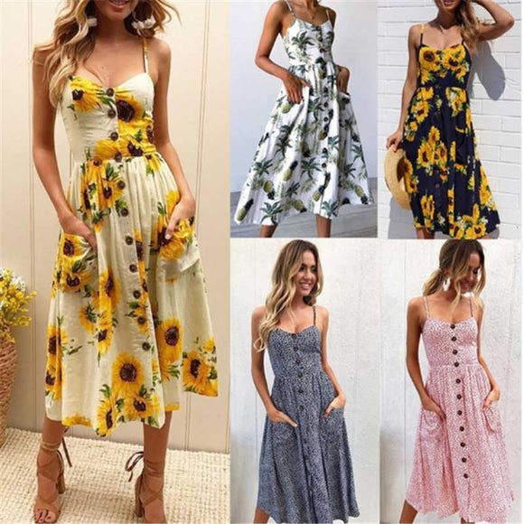 Sunflower Pineapple Floral Print Summer Dress Women Beach Tunic 2018 Casual Boho Style V Neck Strap Backless Maxi Vestidos