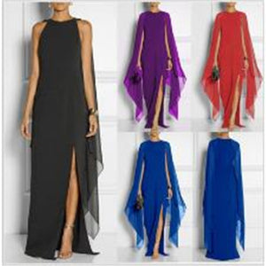 Women Chiffon Evening Party Cocktail Bridesmaid Beach Cape Gown Maxi Long Dress
