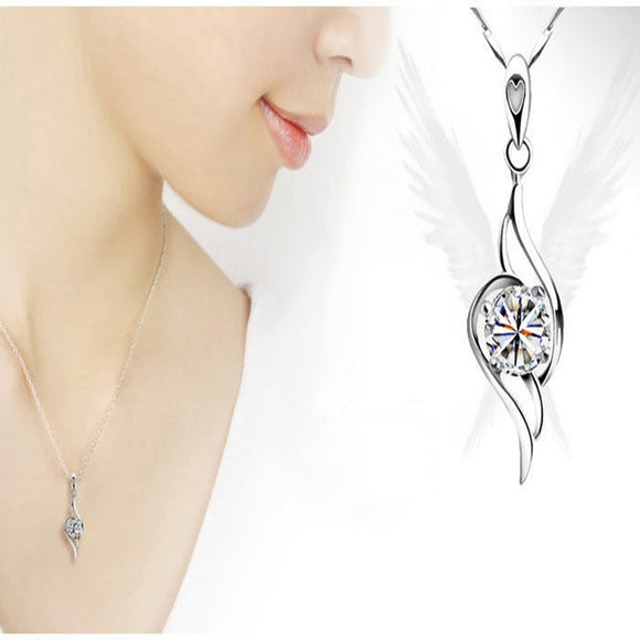 Beautiful Jewellery Lady Fashion Korean South Necklace Silver Sterling Crystal Pendant - The Rogue's Clothes