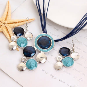 Blue Women Leather Necklace Set Geometry Pendant Jewelry Sets Necklaces Jewelry 2pc Sets(necklace+earing) - The Rogue's Clothes
