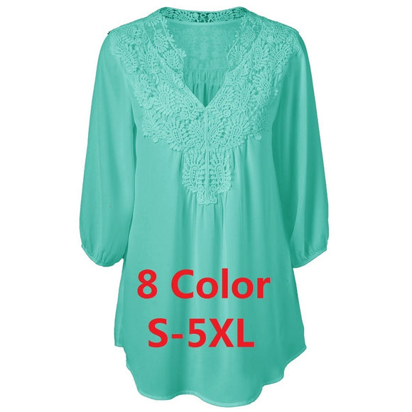 5XL Plus Size Women Chiffon Blouse White Lace Up V Neck Loose Tops - The Rogue's Clothes
