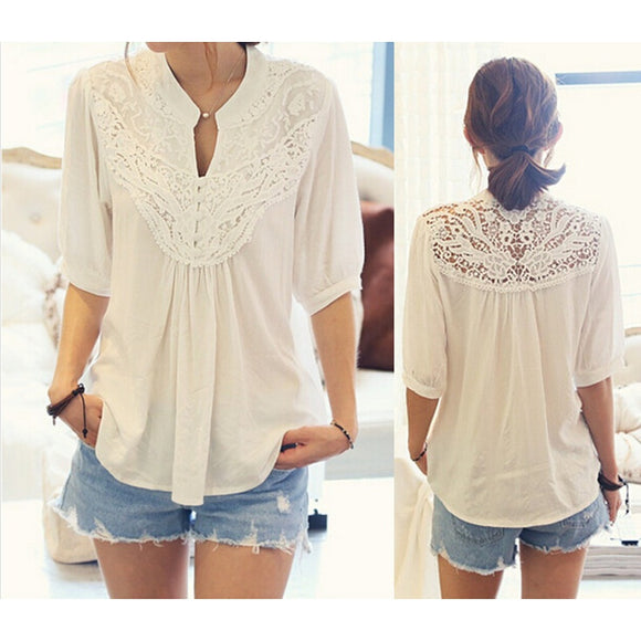 Ladies blouse Hollow T Shirts Tops Lace Tunic Top Shirt Chiffon Freesize