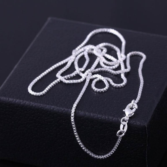 Fashion 16-30inches Fine Silver Italy Necklace Box Chains With Lobster Clasps Link in Jewelry Bag