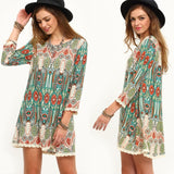 Women Three-quarters Sleeve Round Neck Vintage Floral Print Casual Beach Dress RAD