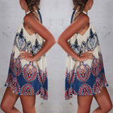 Ethnic Ladies Sleeveless Halter Neck Floral Summer Casual Mini Dress Beach Party