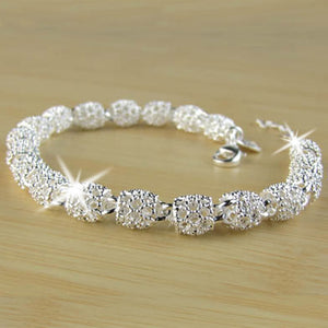 Fashion Hollow Out Beads Link Chain Bracelet Silver Beads Lobster Clasp