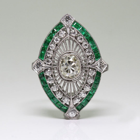 Antique Style Art Deco Silver Imitation Emerald & White Sapphire Floral Engagement Party Ring $5900 - The Rogue's Clothes