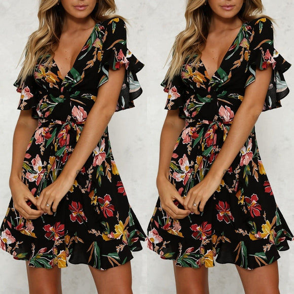 Fashion Summer Womens' Vintage Boho Long Maxi Evening Party Beach Floral Dress
