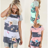 Sweet Bohemian T Shirt Women Vintage Floral Print Short Sleeve Tops Striped T-Shirt With Pocket