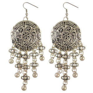 Bohemian Style Carving Flower Coin Statement Earrings Ethnic Gypsy Beach India African Hook Earring Jewelry - The Rogue's Clothes