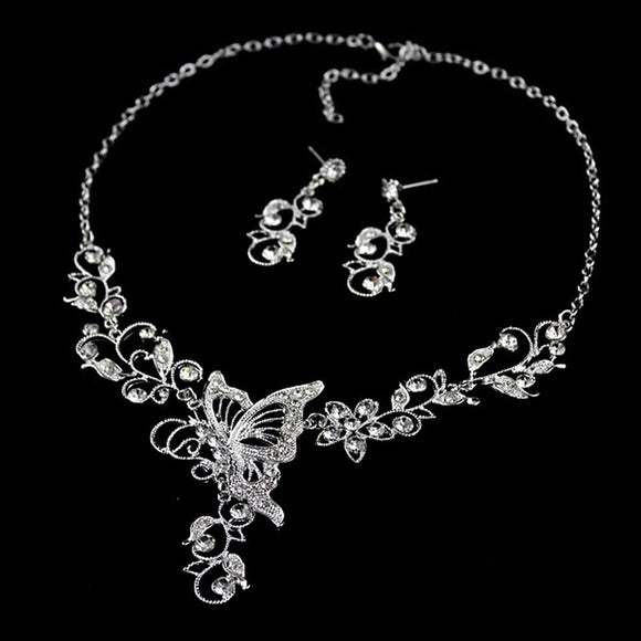 Dangle Collar Decoration Graceful Pendant White Alloy Wedding Butterfly Necklace Silver Color Earrings Leaf