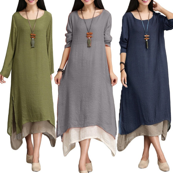 9 Colors Vintage Women Retro Long Sleeve Long Maxi Ladies Casual Layer Baggy Maxi Kaftan Dress - The Rogue's Clothes