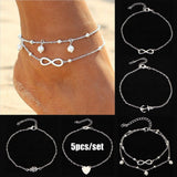 5pcs/set Charm Heart Palm Anchor Pearl Infinity Anklet Bracelet Luxury Gold/Silver Alloy Foot Chain Women's Fashion Jewelry Set - The Rogue's Clothes