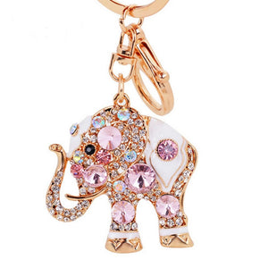 Colorful Jewelry Ring Crystal Holder Trendy Rhinestone Elephant Key Chain Pendant - The Rogue's Clothes