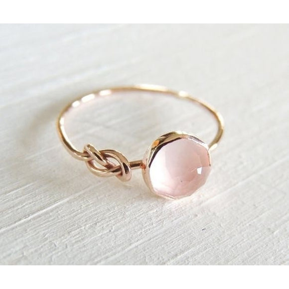 Luxurious Gemstone Pink Moonstone Diamond Ring Solid 18K Rose Gold Ring Infinity Knot Ring Bride Wedding Engagement Fine