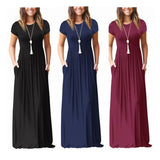 Women Fashion Short Sleeve Loose Plain Maxi Dresses Casual Long Dresses With Pockets