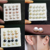 Women 20pcs Silver Freshwater Pearl Stud Earrings
