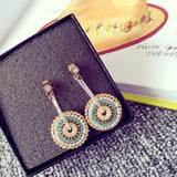 Bohemian Wind Round Round Handmade Chain Wrapped Earrings Women - The Rogue's Clothes