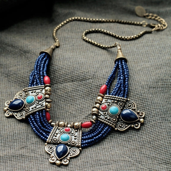 Charm Turquoise Coral Blue Bead Lapis Lazuli Stone Bib Choker Tibetan Unique Necklace Chain - The Rogue's Clothes
