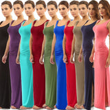 10 Colors Slim Long Dress Sexy Package Hip Dress Female Ruched High Slit Maxi Dress - The Rogue's Clothes