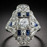 Antique Style Art Deco Large 925 Cubic Zirconia Jewelry Sterling Silver Imitation Blue Sapphire & Diamond Ring Bride Wedding Eng - The Rogue's Clothes