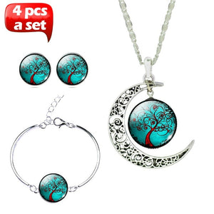 Glass Cabochon Necklace & Earrings & Bangle Set(Totally 4 pcs) Colorful Life Tree Art Picture Pendant Statement Chain Crescent M